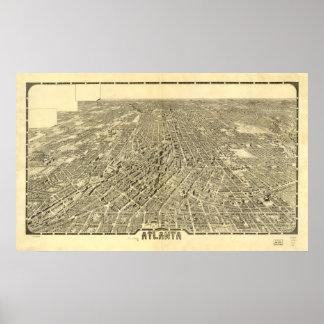Mapa histórico de Atlanta, Georgia, 1919 Póster