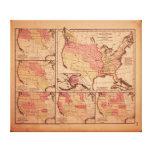 Mapa histórico de la extensión 1787-1865 de Estado Impresión De Lienzo