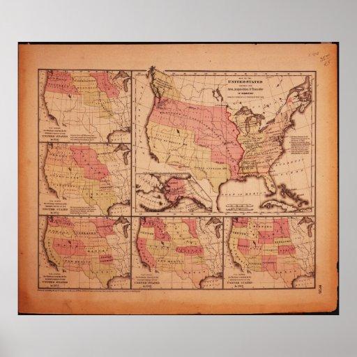 Mapa histórico de la extensión 1787-1865 de Estado Posters