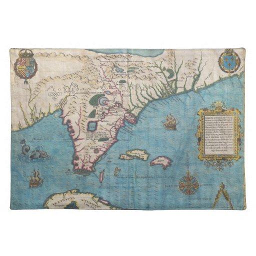 Mapa histórico de la Florida (1591) Mantel
