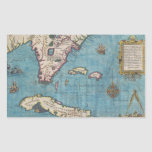 Mapa histórico de la Florida (1591) Pegatina Rectangular