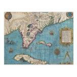 Mapa histórico de la Florida (1591) Postal