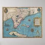 Mapa histórico de la Florida (1591) Posters