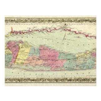 """Mapa histórico de los viajeros 1855-1857 de Long Folleto 8.5"""" X 11"""""""