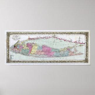 Mapa histórico de los viajeros 1855-1857 de Long I Posters