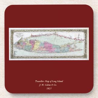 Mapa histórico de los viajeros 1855-1857 de Long I Posavasos De Bebidas