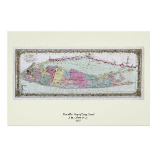 Mapa histórico de los viajeros 1855-1857 de Long I Póster