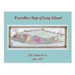 Mapa histórico de los viajeros 1855-1857 de Long I Postales