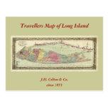 Mapa histórico de los viajeros 1855-1857 de Long I Tarjetas Postales