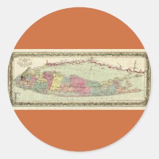 Mapa histórico de los viajeros 1855-1857 de Long Etiqueta Redonda