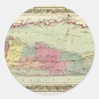 Mapa histórico de los viajeros 1855-1857 de Long Etiquetas Redondas