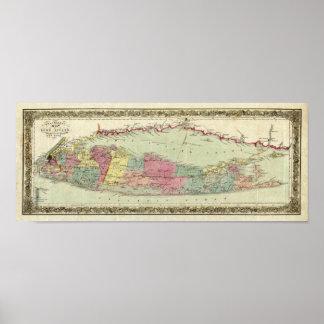 Mapa histórico de los viajeros 1855-1857 de Long Póster