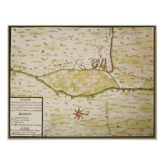 Mapa histórico de Presidio de San Ignacio de Tubac Posters