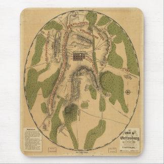 Mapa histórico del campo de batalla de Gettysburg Tapetes De Ratón