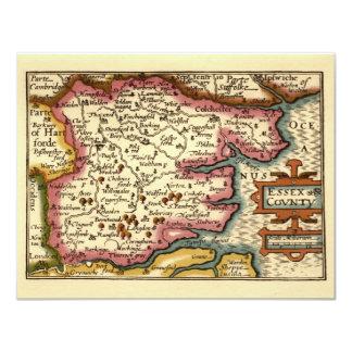 """Mapa histórico del condado de Essex, Inglaterra Invitación 4.25"""" X 5.5"""""""