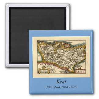 Mapa histórico del condado de Kent, Inglaterra Imán Cuadrado