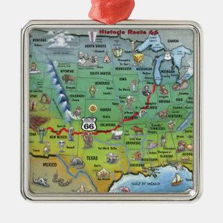 Mapa histórico del dibujo animado de la ruta 66 adorno navideño cuadrado de metal