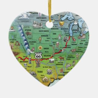 Mapa histórico del dibujo animado de la ruta 66 adorno navideño de cerámica en forma de corazón