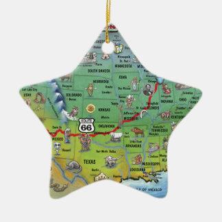 Mapa histórico del dibujo animado de la ruta 66 adorno navideño de cerámica en forma de estrella