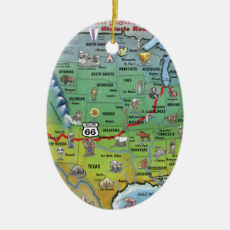 Mapa histórico del dibujo animado de la ruta 66 adorno navideño ovalado de cerámica