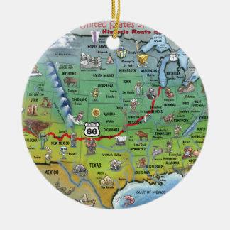 Mapa histórico del dibujo animado de la ruta 66 adorno navideño redondo de cerámica