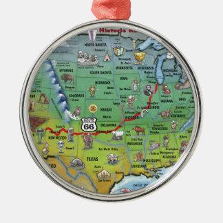 Mapa histórico del dibujo animado de la ruta 66 adorno navideño redondo de metal