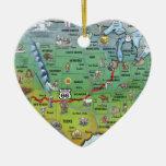 Mapa histórico del dibujo animado de la ruta 66 adorno