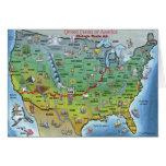 Mapa histórico del dibujo animado de la ruta 66 felicitación