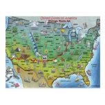 Mapa histórico del dibujo animado de la ruta 66 postales