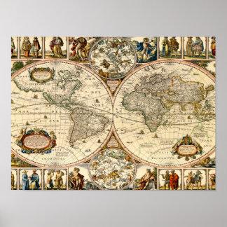 Mapa histórico detallado póster