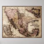 Mapa histórico México e impresión de la lona de Gu Poster