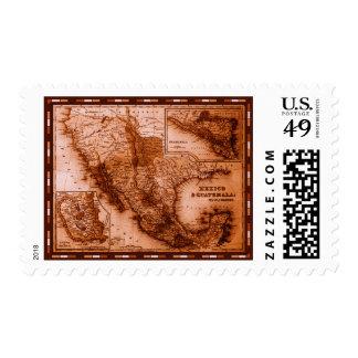 Mapa histórico México y Guatemala Estampillas