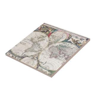 Mapa histórico - Nova Totius Terrarum Orbis Tabula Azulejo Cuadrado Pequeño