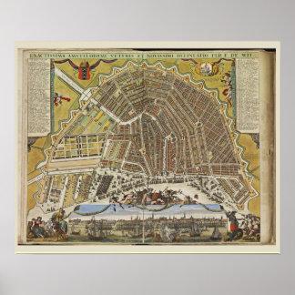 Mapa holandés del vintage de Amsterdam Poster