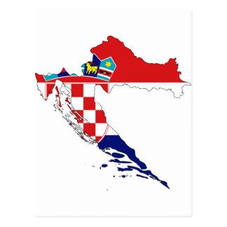 Mapa hora Hrvatska de la bandera de Croacia Tarjetas Postales
