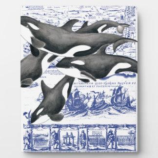 Mapa II del vintage de la orca Placas Para Mostrar