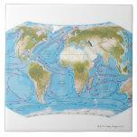 Mapa ilustrado azulejo cuadrado grande