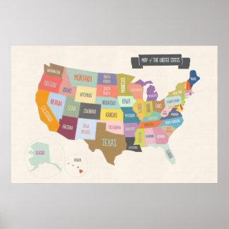 "Mapa ilustrado de América 24 x 36"" poster de la"