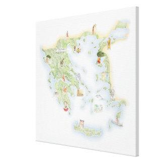 Mapa ilustrado de Grecia antigua Lona Estirada Galerías