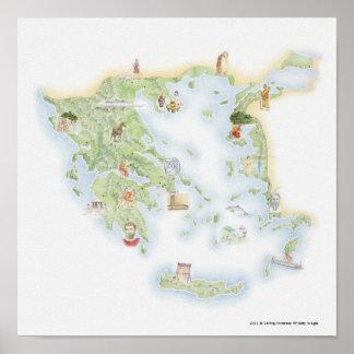 Mapa ilustrado de Grecia antigua Póster