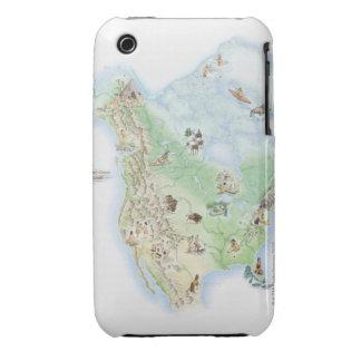 Mapa ilustrado de la demostración de Norteamérica Case-Mate iPhone 3 Cárcasa