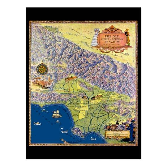 Mapa ilustrado de Los Ángeles del vintage Postal