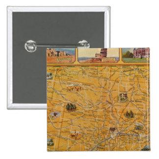 Mapa ilustrado de US Airways Pin Cuadrada 5 Cm