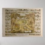 Mapa ilustrado del Central Park NYC del vintage Póster