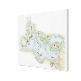 Mapa ilustrado del imperio romano impresion de lienzo