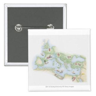 Mapa ilustrado del imperio romano pins