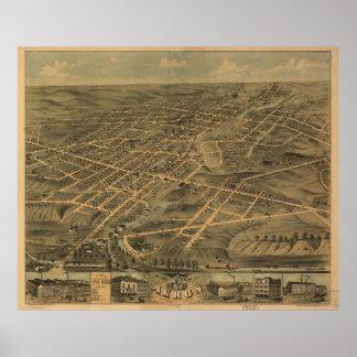 Mapa ilustrado del vintage de Akron Ohio (1870) Póster