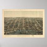 Mapa ilustrado del vintage de Alexandría VA (1863) Posters