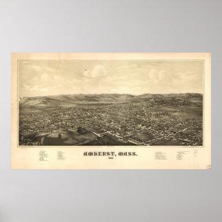 Mapa ilustrado del vintage de Amherst mA (1886) Póster