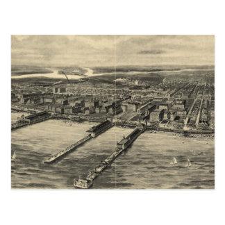 Mapa ilustrado del vintage de Atlantic City (1909) Postal